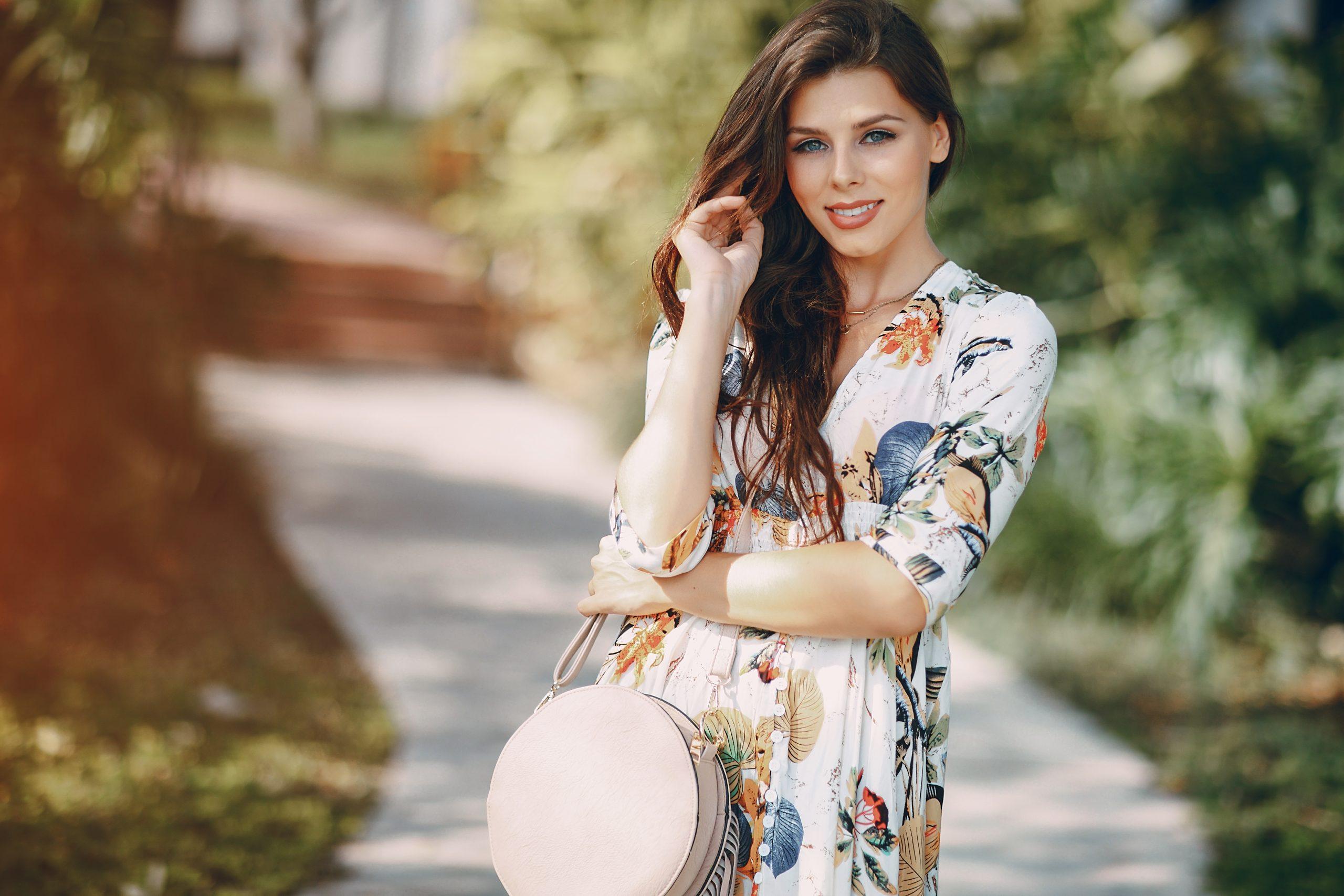 beautiful European girl on the street
