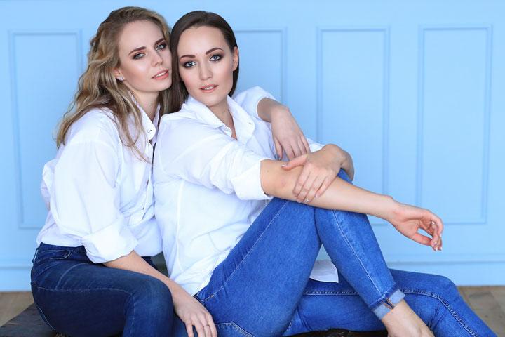fashion beautiful Eastern European women white shirt