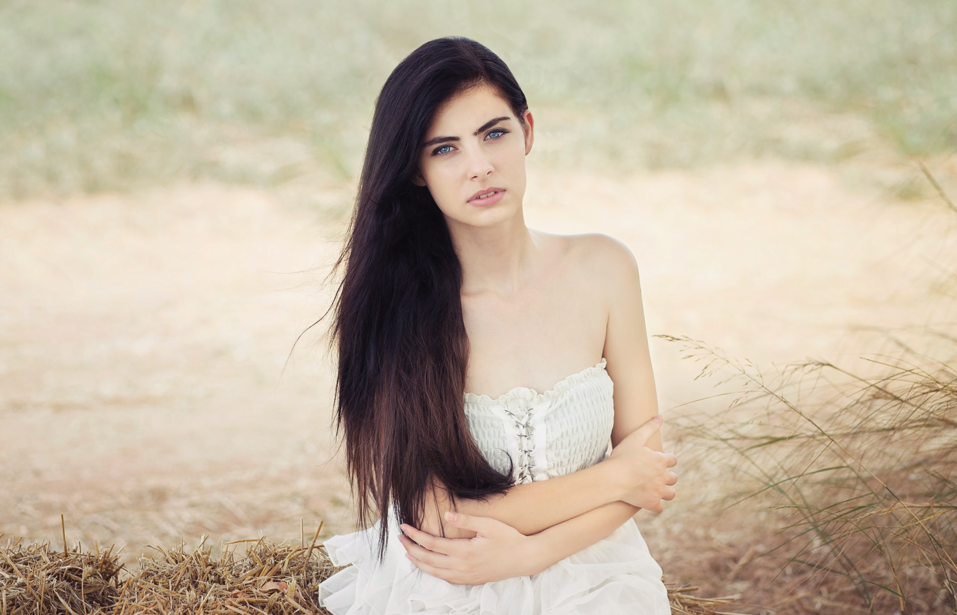 graceful European brunette girl