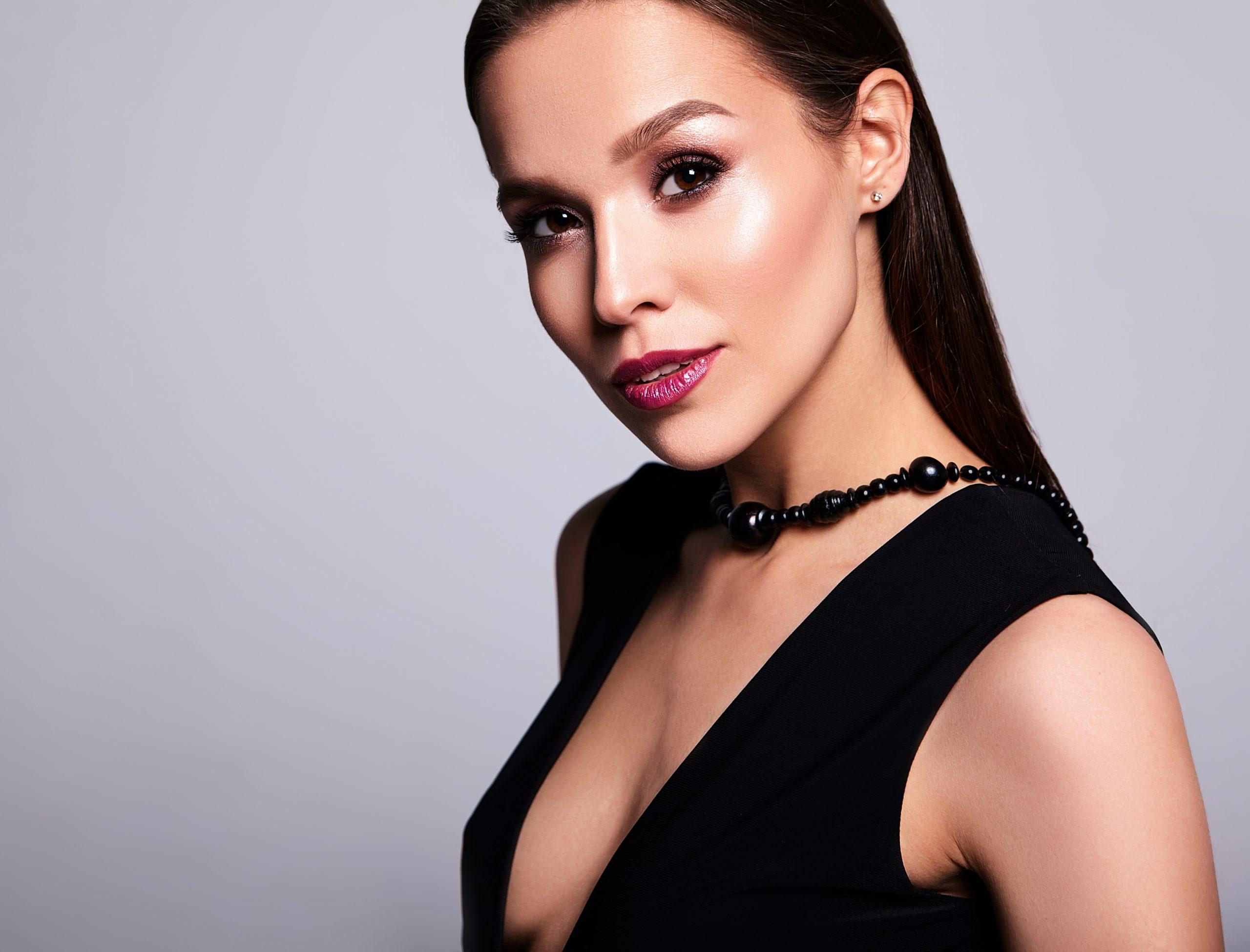 Spanish beautiful smiling brunette woman